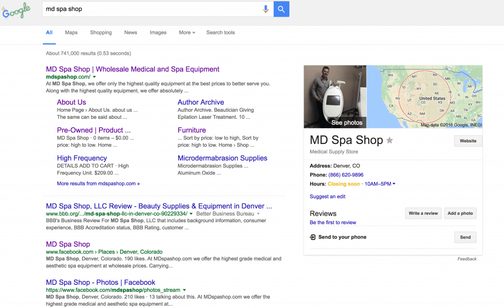MD Spa Shop Google My Business